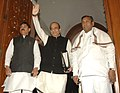 Dinesh Trivedi arrives Parliament House to present the Railway Budget 2012-13, in New Delhi on March 14, 2012. The Ministers of State for Railways, Shri Bharatsinh Solanki and Shri K.H. Muniyappa are also seen.jpg