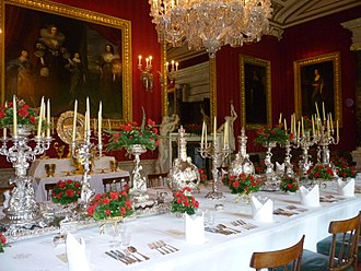 Tableware - Formal dining table laid for a large private dinner party at Chatsworth House