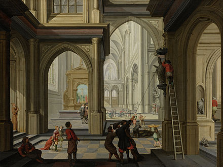 Iconoclasm: The organised destruction of Catholic images, or Beeldenstorm, swept through Netherlands churches in 1566. Dirck van Delen - Beeldenstorm in een kerk.jpg