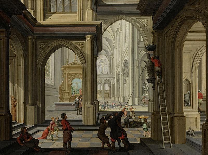 Destruction des idoles dans une église, toile de Dirk van Delen.