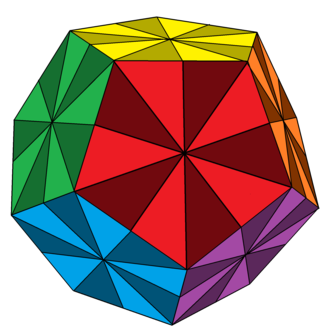 Disdyakis triacontahedron - Disdyakis triacontahedron on a dodecahedron