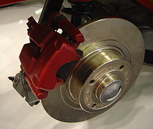 In This View Of An Automobile Disc Brake The Pad Is Black Material Held By Red Caliper Lining That Part