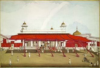 Awning - Diwan-i-Khas, Red Fort, Delhi with red awnings or shamianas, in 1817