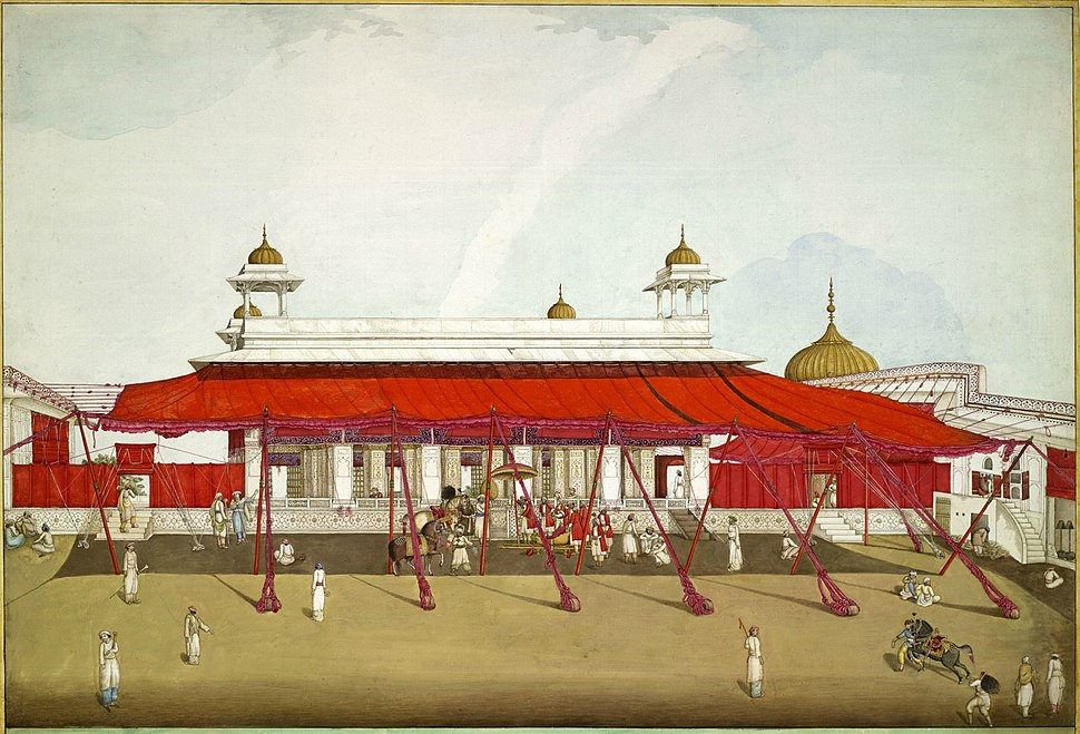 Diwan-i-Khas, Red Fort, Delhi with red awnings or shamianas, in 1817