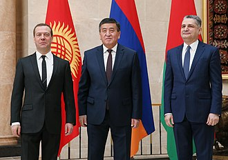 Prime Minister Jeenbekov with Dmitry Medvedev, and Tigran Sargsyan at the Eurasian Intergovernmental Council summit in Bishkek, 7 March 2017. Dmitry Medvedev, Sooronbay Jeenbekov and Tigran Sargsyan at the Eurasian Intergovernmental Council meeting, 7 March 2017.jpg