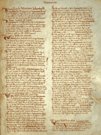 A page from a medieval book, with hand writing in brown ink in two columns against on an aged vellum page.