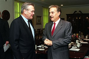 1999–2002 FARC–Government peace process - The then US Secretary of Defense Donald Rumsfeld meeting with President Andrés Pastrana.