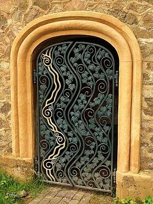 North Malvern - The Cascade Gates (2007) by Rose Garrard, at the Clock Tower, North Malvern.