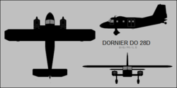 Dornier Do 28D three-view silhouette.png