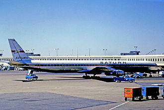 Saturn Airways - Saturn Airways Douglas DC-8-61CF at Chicago O'Hare Airport in 1971 when operating a passenger charter