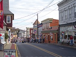 The historic commercial district along Potomac Street in Brunswick, MD.