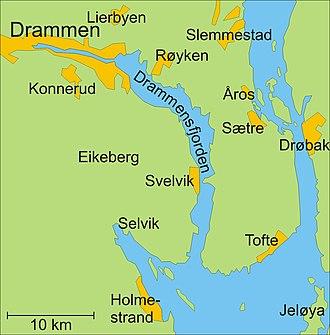 Drammen - Map of Drammensfjorden
