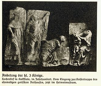 Aachen Rathaus - Torsos of the Three Kings relief, from the 14th century