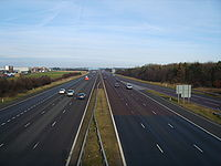 Tyne and Wear, England above the A1(M) motorway of vehicles driving on the left heading north and driving on the right heading south.