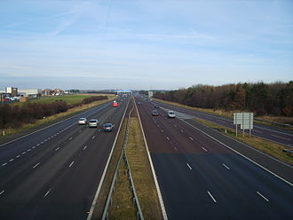 A1(M) motorway - Looking northwards at Washington Services as the A1(M) approaches Junction 65