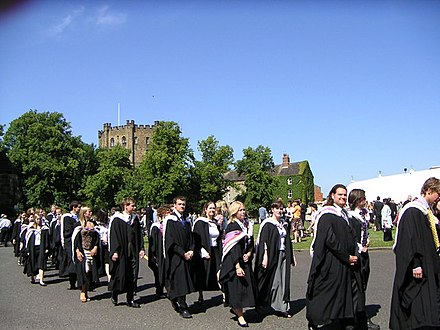The university's graduation ceremonies take place in Durham Cathedral with receptions on Palace Green Durham Graduation.jpg
