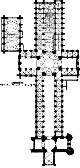 Ground plan of Ely Cathedral, showing the location of various architectural elements discussed in the text