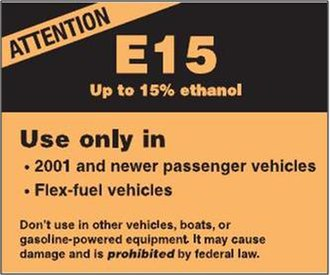 Common ethanol fuel mixtures - EPA's E15 label required to be displayed in all E15 fuel dispensers in the U.S.