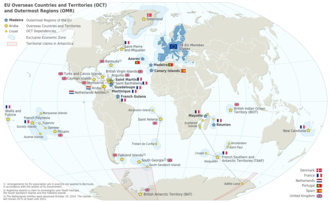 Special member state territories and the European Union - Map of the European Union in the world (with overseas countries and territories (OCT) and outermost regions (OMR))