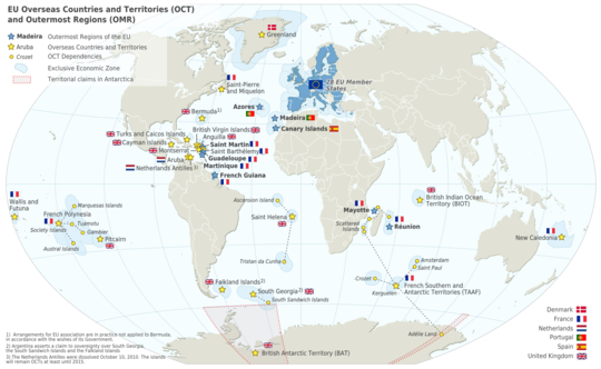 Map of the European Union in the world (prior to Britain's departure), with Overseas Countries and Territories and Outermost Regions. EU OCT and OMR map en.png