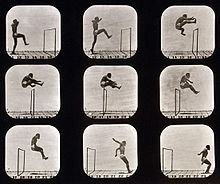 Nine photographs, arranged in 3 rows of 3, show the sequence of a man's jump over a hurdle. The first photo at the top left shows the man in front of hurdle with his right leg raised.  As he propels himself over the hurdle, he pulls his trailing left leg up and in front of him while pushing his arms to the back.  The last three photos show him as he clears the hurdle and lands on both feet.