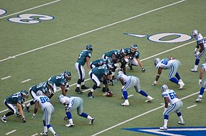 2007 NFL season - Philadelphia playing at Dallas on December 16 – Donovan McNabb calls a play to Matt Schobel