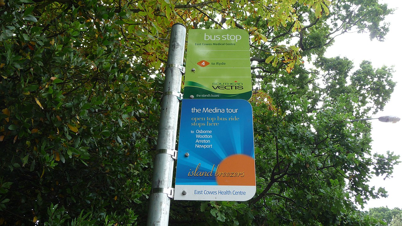 File:East Cowes Medical Centre bus stop flags.JPG ...