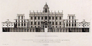 Nicholas Hawksmoor - Easton Neston House, Northamptonshire (c.1695–1710); the flanking, secondary wings and cupola were never built