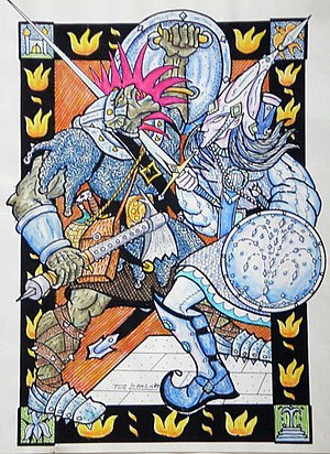 Middle-earth Orc characters - Ecthelion slays Orcobal, drawing by Tom Loback