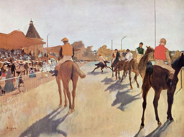 Эдгар Дега. Скаковые лошади перед трибунами. 1869—1872г. Музей Орсе, Париж.