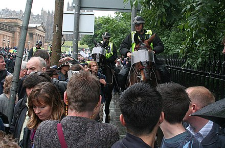 Mounted riot police as crowd control during protests in Edinburgh EdinburghProtests3.jpg