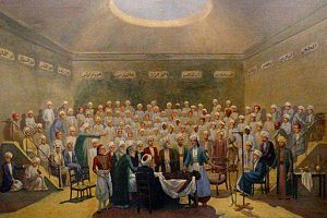 Antoine Clot - Clot in Egyptian army uniform teaching the first modern Anatomy lesson at Abu-Zaabal on 20 June 1829. The lesson was attended by some Shiekhs from al-Azhar.