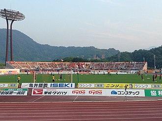 J2 League - Image: Ehime Pre Park Stadium 130811 3