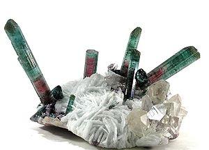 Tourmaline - Elbaite with quartz and lepidolite on cleavelandite