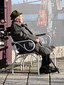 Elderly Man Soaks Up the Sun along the Danube - Pest Side - Budapest - Hungary.jpg