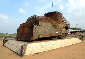 Sri Lankan Civil War - Improvised armored bulldozer used by the LTTE in the First Battle of Elephant Pass (1991), one of the major battles. This bulldozer was destroyed by Cpl. Gamini Kularatne. Today it stands on display as a war memorial.