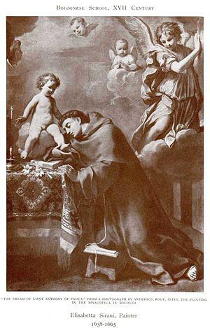 Elisabetta Sirani - St. Anthony of Padua, 1662, Elisabetta Sirani. At Pinocoteca, Balogna, Italy
