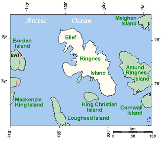 Danish Strait - The Sverdrup Islands, with Danish Strait running between Ellef Ringnes Island and King Christian Island