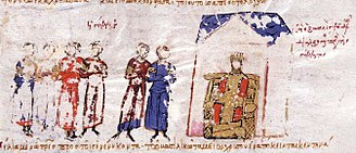 Byzantine Senate - Depiction from the Madrid Skylitzes showing Empress Theodora conferring with the Senate.