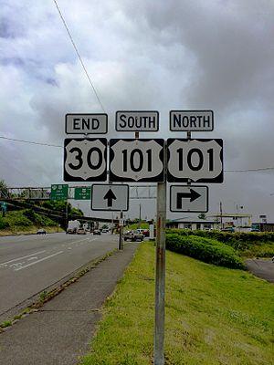 U.S. Route 30 in Oregon - End US 30 Marker, Astoria, Oregon