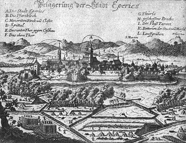 A 17th-century siege of Presov, named here as 'Eperjes' Eperjes-17th century.jpg