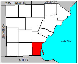 Location of Erie Township within Monroe County.