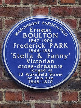 Boulton and Park - A blue plaque, marking the site of the house Boulton and Park lodged in, Wakefield Street, Bloomsbury (2015)