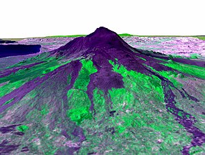 Advanced Spaceborne Thermal Emission and Reflection Radiometer - ASTER image draped over terrain model of Mount Etna
