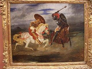 Combat de chevaliers dans la campagne