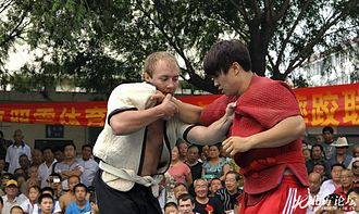 Shuai jiao - Two Shuai Jiao wrestlers testing each other in Tianjin, China.