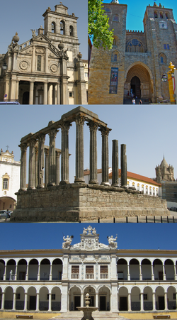 From top to right: Igreja da Graça، Cathedral of Évora، Roman Temple of Évora، University of Évora