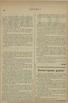 Aldo Palazzeschi, Evviva questa guerra!, Lacerba, 22 maggio 1915