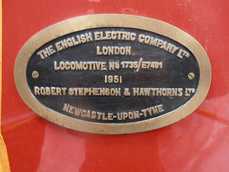 Robert Stephenson and Hawthorns - Builders plate from NZGR Ew 1805 locomotive