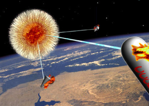 Project Excalibur - This early artwork shows an Excalibur firing at three targets. In most descriptions, each warhead would fire at dozens or even thousands of targets, which would be hundreds or thousands of kilometers away.